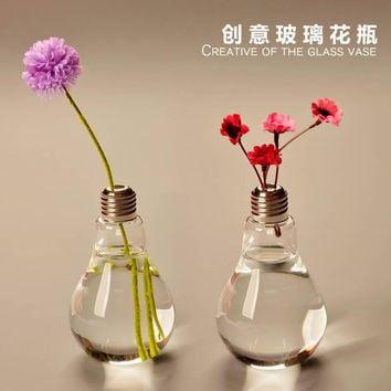 Light Bulb Glass Vase Terrarium Vases Cute Flower Pots Tabletop Glass Modern Vaso Wedding Floor Air Planter Decorative Vase