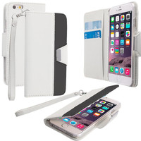White Wallet Magnetic Metal Flap Case Cover With Card Slots for Apple iPhone 6 Plus 6S Plus (5.5)