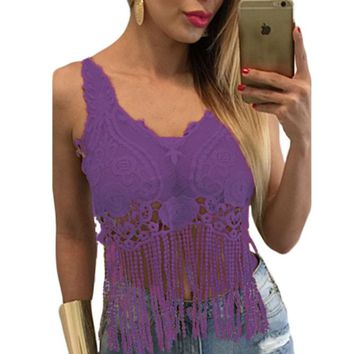Chicloth Purple Lacy Crochet Cropped Vest Top