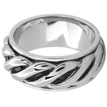 Inox Jewelry Men's Twist Rope 316L Stainless Steel Spin Ring