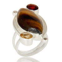 Handmade Sterling Silver Garnet, Citrine And Tiger Eye Gemstone Statement Ring