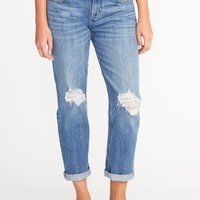 Distressed Boyfriend Straight Jeans for Women |old-navy