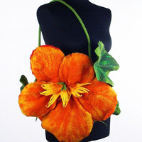 Flower Bag Felted Bag Nasturtium Purse Nunofelt Flower handbag wild Felt Nuno felt tangerine fairy floral fantasy shoulder bag Fiber Art