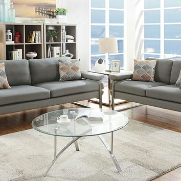 2 pc Retro modern collection grey plush faux linen fabric upholstered sofa and love seat