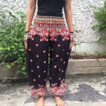 Trousers Yoga Pants Flora Paisley Print Hippies Baggy Boho Hobo Fashion Style Clothing Rayon Gypsy Tribal chic Clothes Exercise Clothing