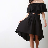 High Waist Tie High Low Hem Skirt