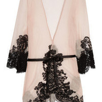 Rosamosario|Mezza Luna silk-crepe and lace robe|NET-A-PORTER.COM