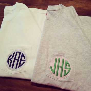 Long Sleeved Personalized Monogrammed Seersucker Pocket T-shirts, 11 colors to choose from