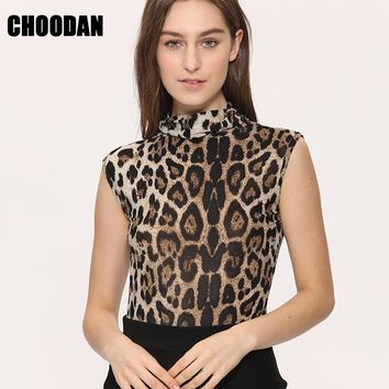 Leopard Tank Top Women Sleeveless Shirt 2017 Summer Autumn Basic Shirts New Fashion Turtleneck Fitness Clothing Female Blouses
