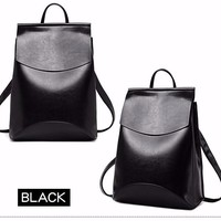 Soft Faux Leather Solid Backpack for School