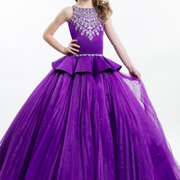 2017 New Pretty Beaded Purple Pageant Flower Girls Dresses Ball Gowns First Communion Dresses For Girls To Wedding