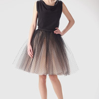 Adult champagne tutu skirt with black dots, wedding tulle skirt, petitcoat