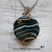Wire Wrapped Pendant - Black Stripes Agate Necklace in Antique Bronze
