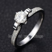 5mm Round Moissanite Diamond Engagement Ring in 14K White Gold -  0.4ctw Moissanite
