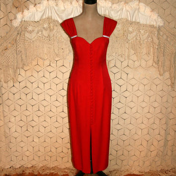 80s Red Prom Dress Vintage Red Formal Dress Small Size 4 Dress Rhinestone Holiday Dress Long Red Dress Womens Dresses 1980s Vintage Clothing