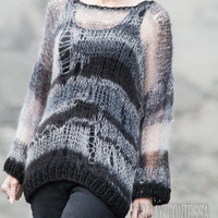 Knit Distressed Goth Sweater Black Sweater Hand Knit Tunic Sweater Hand Knit Oversized Sweater