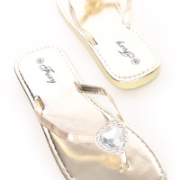 Gold Gemstone Slip On Thong Sandals Faux Leather