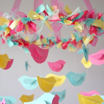 Bird Mobile - Pink, Yellow, Aqua For Baby Nursery Decor | Luulla