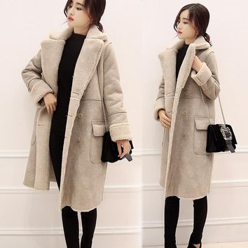 Women's Suede Lamb Wool Coats