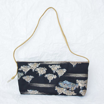 "Shoulder Bag ""Old Japan"" (Japanese Silk Kimono Obi; Black Kimono Purse; Japanese Purse; Black Clutch Bag; Clutch Purse)"