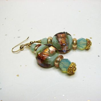 Aqua lampwork pierced earrings Swarovksi crystal by ShopPretties