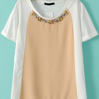 Apricot and White Jewelled Neckline Color Block Chiffon Blouse