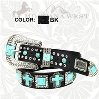 Montana West Spiritual Collection Womens Western Style Belt Studded Leather with Turquoise Crosses and Squares and Rhinestones- Black Choice of Size