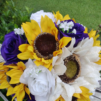 Sunflower Bouquet, Purple Rose Sunflower Bridal Bouquet, Sunflower Burlap Bouquet, Rustic Bouquet, Sunflower Wedding Bouquet, Purple Bouquet
