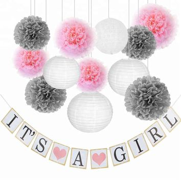 IT'S A Girl -Baby Shower Decorations for Girl - Its A Girl Banner, BABY SHOWER Banner | Gender Reveal Party Kit Decor, Pink Grey Party Theme