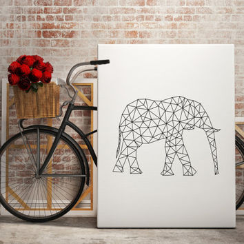 Large Wall Art Elephant Minimal Print Large Abstract Wall Art Large Print Large Elephant Modern Wall Decor Minimalist Print Dormroom Decor