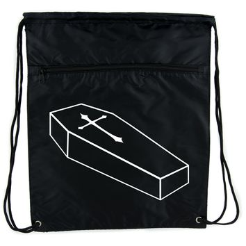 Voodoo Coffin w/ Gothic Cross Cinch Bag Drawstring Backpack Horror