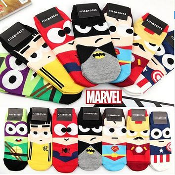 MARVEL Spin-Off Iron Kid Ninja Batman Superman SpiderMan Captain America Avengers Alliance Cartoon Ankle Socks 35-43 1lot=7pairs
