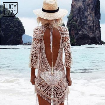 2017 Bikini Cover up Beach Tunic Sarongs Swimwear Women Covers Up Sexy Backless Bathing Suit Swimsuit Beach Wear robe de plage