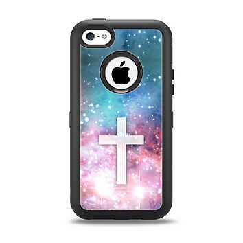 The Vector White Cross v2 over Colorful Neon Space Nebula Apple iPhone 5c Otterbox Defender Case Skin Set