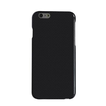 DistinctInk® Hard Plastic Snap-On Case for Apple iPhone - Black Grey Carbon Fiber Printed Design