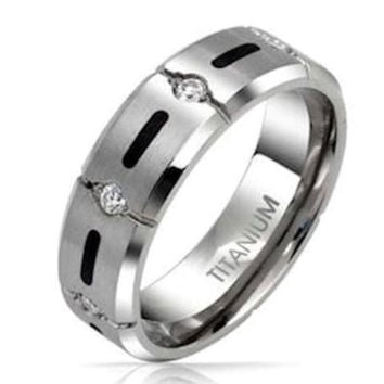 Men's Cz and Solid Titanium Wedding Band Engagement Ring Band