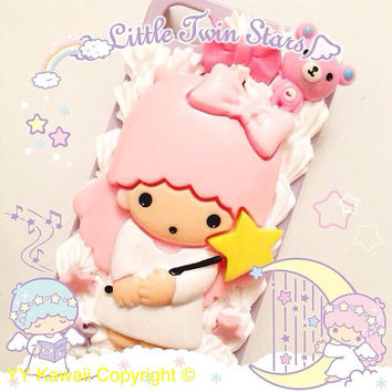 Little Twin Stars Angel Kawaii silicone Decoden phone case for IPhone 4S, iPhone 5 or Samsung Galaxy