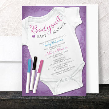 Decorating Bodysuit Baby Shower Invitations - Purple Infant Bodysuit Decorating Activity Baby Shower - Printed Invitations
