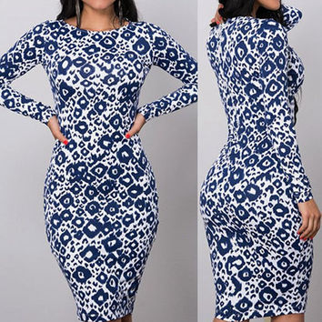Blue Eye Print Bodycon Dress