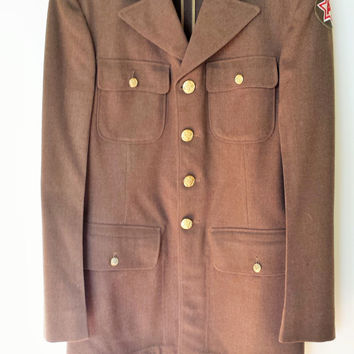 Vintage WW2 Army Uniform Jacket, 6th Army, Military, Army Patch