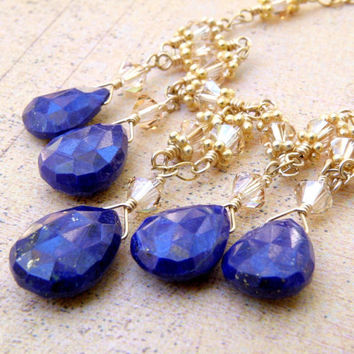 Lapis Lazuli Necklace, Blue Stone, Gold Filled, Royal Blue, Formal Teardrop Necklace, Elegant Mother of the Bride Handmade Wedding Jewelry