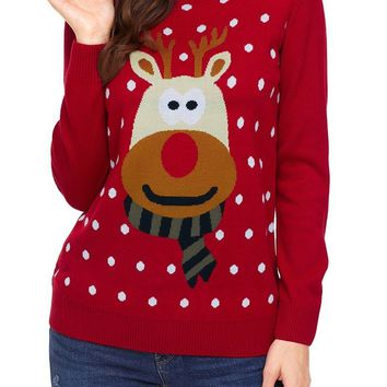 Chic Cute Red Christmas Reindeer Sweater