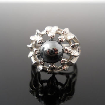 Hematite Ring, Silver Ring, Size 7.5 Ring, Sterling Ring, Flower Ring, 925 Ring, 925 Hematite Ring, Silver Flower, Sterling Flower