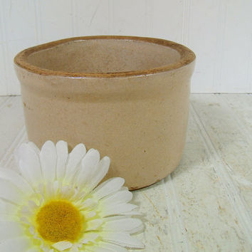 Antique StoneWare Bisque Glaze Crock - Vintage Hand Thrown Pottery Bowl with Age Crazed & Crackled Surface - Cottage Chic Round Clay Planter