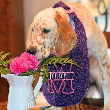 """Purple, pink monogram on a full coverage bib for your dog. Cotton front & back with cotton flannel inside for absorption.  Mimi - 14"""" Neck"""