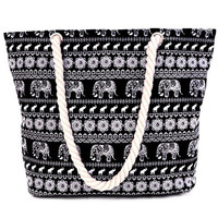 Ethnic Style Women's Shoulder Bag With Elephant Print and Black Design