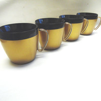 Mid Century Modern Thermal Cups Black and Gold Mugs Set of 4