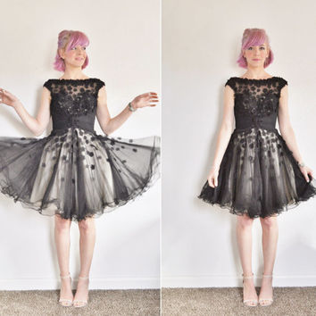 sheer black illusion party dress . flower cut out appliques .extra small.xs