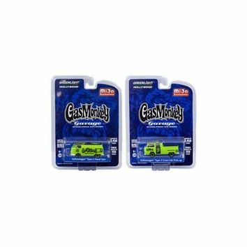 "Volkswagen Type 2 Panel Van and Volkswagen Crew Cab Pickup Set of 2 ""Gas Monkey Garage"" (2012-Current TV Series) Limited Edition to 3450 pieces Worldwide of each 1/64 Diecast Model Cars by Greenlight"