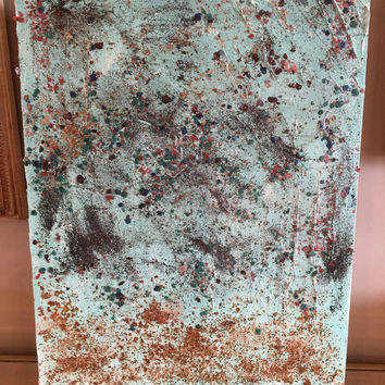 Original abstract textured acrylic painting 16x20 canvas panel teal light turquoise with mica flakes gold glitter and black glitter